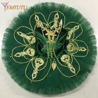 kostüme grüne tutus großhandel-Esmeralda professionelle Ballett Tutu Grün Gold Pfannkuchen Leistung Tutus Velvet Bodice Wettbewerb Ballett Bühnenkostüm für Frauen