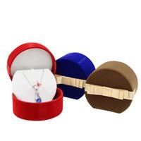 conjuntos de jóias de veludo venda por atacado-Pequeno conjunto de jóias caixa de presente de veludo anel de jóias brinco pingente charme colar caixas de embalagem meia rodada com laço de fita nó