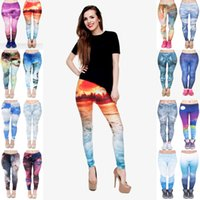 Wholesale cloud leggings resale online - Women Leggings Mix Styles Pixel Fuji Iceberg Wild Mountain Marble Thunder Sunset Beach Galaxy Archipelago Clouds D Print Pants JL015