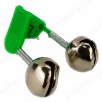 Wholesale bite lure for sale - Group buy Green Red Outdoor Twin Bells Ring Fishing Rod Clamp Bite Lure Alarm Fishing Bell X019