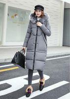 Wholesale Long Fur Coat Model - 2017 new winter models Korean hooded fur collar feather cotton women long section thick warm Slim coat