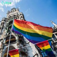 drapeaux colorés achat en gros de-3x5ft 90x150cm drapeaux arc-en-ciel et bannières fierté gaie lesbienne LGBT drapeau Polyester drapeau coloré pour la décoration