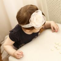 Wholesale pink pearl headbands - Baby girl Headbands Children Hair Accessories Kids Pearl Crystal pink Flowers Elastic Cute Hairbands Newborn Headwear head band KHA682