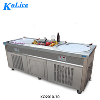 Wholesale usa doors - Free shipment to door USA WH kolice double ice pans with 10 cooling tank roll ice cream machine fry ice cream machine with refrigerant