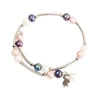ingrosso braccialetto di perle d'acqua dolce nera-Misto bianco viola nero perle d'acqua dolce bracciale gioielli placcato argento regolabile