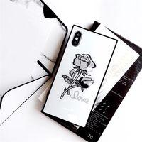 цветок дело bling оптовых-Чехол для телефона Bling Glitter Rose Flower для Iphone X XR XS MAX Закаленное стекло Квадратный корпус для Iphone 6 7 8 Plus