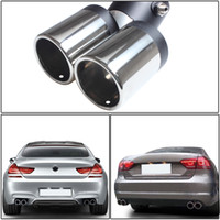 Wholesale tail pipes - 150MM Exhaust Pipe Car Stainless Steel Chrome Double Dual Exhaust Rear Tail Muffler Tip Pipe Wholesale