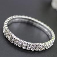 pulsera de cristal pulsera de diamantes al por mayor-Pulseras nupciales de diamantes de moda diseñador de cristal de lujo pulseras de joyería nupcial para mujeres Accesorios de boda baratos taladros de agua brazalete