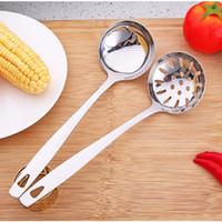 Wholesale Stainless Steel Colander Handle - Stainless Steel Colander Soup Spoon Long Handle Strainer Skimmer Porridge Spoons Cooking Tools Dinnerware