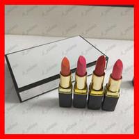 batons matte venda por atacado-Marca popular Lip Makeup matte batom 4 cor tubo preto matte batom 4 pçs / set frete grátis