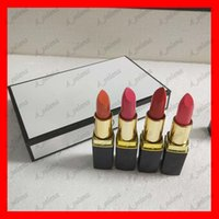 Wholesale matte lipstick online - Popular Famous Luxury brand Makeup Matte lipstick color black tube matte lipstick set