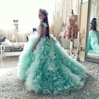 robe de filles de fleur vert menthe achat en gros de-Robes de demoiselle d'honneur à col rond vert menthe Robes de fête d'enfants pour les filles