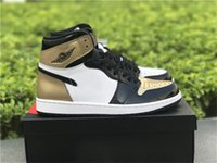 Wholesale Lace Material Shoes - 2018 Air Retro 1 High OG NRG Gold Top 3 Men Basketball Shoes Authentic Quality Sneakers Real Leather Original Material 861428-001 US7-13