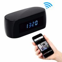 Wholesale ip camera display - 1080P Mini Wifi Camera with Time display Electronic Clock P2P Motion Detection Two-way Intercom Wi-Fi IP Camera Video Recorder