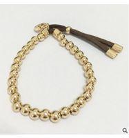 brazaletes de oro blanco sólido al por mayor-Marca Ball Bangle Mujeres Real Sólido Amarillo Oro Blanco Negro Rosa Dorado Granos Redondos Pulseras Joyería Cadena de Mano corazón