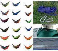 kumaş çift hamak toptan satış-Taşınabilir Naylon Kumaş Çift Kişi Paraşüt Hamak Bahçe Açık Kamp Güvenli Asılı Yatak Uyku Salıncak 275X140 cm DDA770 Mobilya