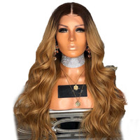 Wholesale honey blonde ombre dark hair for sale - 150 Density Ombre Honey Blonde Color B Thick Glueless Full Lace Human Hair Wigs Brazilian Body Wavy Lace Front Wig