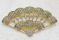 Wholesale brooch fans resale online - Crystal Rhinestone Fan Pin Brooch Fashion jewelry gift C813