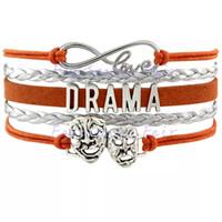Wholesale infinity sports bracelets resale online - Custom Infinity Love Drama Bracelet Theatre Comedy Art Mask Gift For Drama Amateur Wrap Braided Leather Adjustable Bangles
