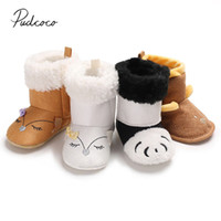 пушистые снежные сапоги оптовых-2018 Brand New Newborn Toddler Baby Boy Girl Infant Warm Snow Boots Soft Sole Booties Prewalker Panda Puppy  Furry Warm Boots