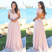 Wholesale short sleeve ruffle top - New Blush Country Bridesmaid Dresses 2018 Scoop Hollow Back Lace Top Sweep Train Chiffon Beach Garden Wedding Guest Maid Of Honor Dress
