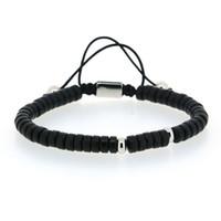 diseños de pulsera de macramé al por mayor-Diseño Chungky Plano Negro Acrílico Onyx Piedra Grano Color Plata Cobre Encanto Nudo Ajustable Trenzado Macrame Pulsera Para Hombre
