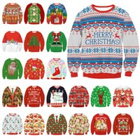 Wholesale Christmas Crewneck Pullover Xmas Spirit Print Long Sleeve Sweatshirts Types Couple Clothes Size S to XL