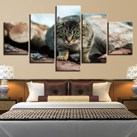 Wholesale green living pictures resale online - Framework Paintings Modular Wall Art Decor Living Room Or Bedroom Printed Pieces Cats Animal Green Eyes Canvas Picture Artwork