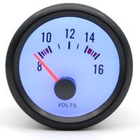 medidor de volt led azul venda por atacado-2 polegada 52mm Medidor de Dragão Volts Medidor de Carro Volt Medidor 8-16 V Caso Preto Analógico Com LED Azul