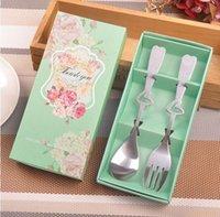 ingrosso set di forchetta a cucchiaio di cuore-2 pz / set Set di stoviglie in acciaio inox Set di posate cuore e forchetta per bomboniere regalo per ospiti