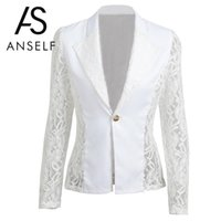 2017 Autumn XXXL Plus Size Women Jacket Lace Splicing Long Sleeves Slim Suit  One Button Casual Coat Work Wear Ladies Black White 1d5933056