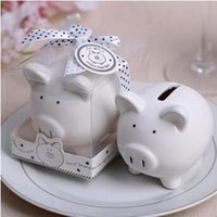 Wholesale Mini Gift Bows - Ceramic Mini Piggy Bank in Gift Box With Polka-Dot Bow Coin Box for Baby Shower Favors Christening Gifts Party Favors CCA9179 100pcs