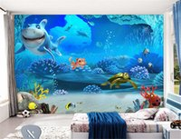 Wholesale Cartoon Sound Effects - Custom Photo Mural Wallpaper Children Room Underwater World Cartoon Shark Turtle Non-woven Fabric Wallpaper For Bedroom Walls 3D