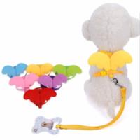 дизайнерские поводки оптовых-Cute Angel Pet Поводки и ошейники Набор Puppy Ведет для маленьких собак Кошки Проектировщик Wing Регулируемая собака Harness Pet Принадлежности
