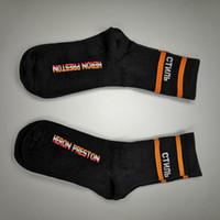 siyah çorap beyaz çizgili toptan satış-Heron Preston Siyah Beyaz Turuncu Şerit uzun Çorap Çorap Moda Hip Hop Kış Sonbahar Streetwear Çorap