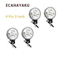 utv geführtes punktlicht rund großhandel-ECAHAYAKU 4pcs 9W LED Arbeits-Lampe Off-Road-Lichtleiste Spot-Flut-Lichtstrahl Arbeitslicht für LKW, Jeep ATV UTV SUV 4x4 Boot 4WD