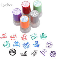 ingrosso i bambini stampano inchiostro auto-Lychee 1pz Self Inking Comment Stamp per Teachers Kids Decorative Stamps for Scrapbook DIY Scrapbooking