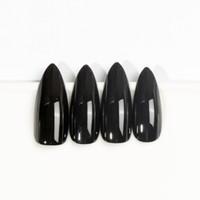pegatinas de garra al por mayor-Negro Extremadamente Largo Stiletto Nails 24 Juego Completo de Uñas Presione sobre Nail Witch Claw Fancy Dress pegatina gratis