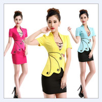 Wholesale Office Women Suit Sexy - Free shipping 2018 Summer style OL Slim vest skirt suit Sexy Carreer Dresses skirt office uniform style women work wear