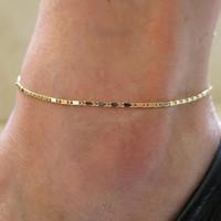 plaj ayak bileği takı toptan satış-Moda Kadınlar Basit Altın Zincir Halhal Ayak Bileği Bilezik Yalınayak Sandal Plaj Ayak Takı