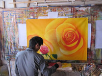 Discount free gift picture - Wholesale-Handmade 5 Piece Wall Art Oil Paintings On Canvas Flowers Pictures For Living Room As Unique Gift Red Rose Free Shipping F 028