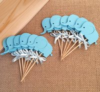 Wholesale baby boy shower cupcake toppers for sale - Group buy 2018 Baby Shower Elephant Cupcake Toppers Double Sided Boy Birthday Party Favors Cake Decoration Food Picks Supplies