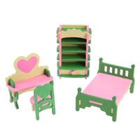 ingrosso mobili per bambini in miniatura della bambola-VENDITA CALDA 1 set / 4pcs Baby Dollhouse Mobili in legno Dolls House Miniature Child Play Toys Regali