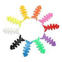 Wholesale Mp3 Fish - 1000pcs lot High quality Fish Bone Earphone Cable Holder Winder Organizer For MP4 MP3 IPhone Free Shipping