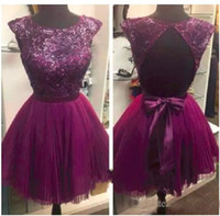 Wholesale yellow cut back prom dress resale online - Charming Sexy A Line Short Purple Prom Dresses Sleeveless Crew Cut Out Back Sheer Bling Sequin Homecoming Dresses Chiffon Evening Gowns