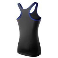 Wholesale royal blue vest l - Hot Wholesale Women sleeveless t shirts Black&Royal Blue Yoga Shirts Top Fitness Gym Quick Dry Vest camisas mujer ropa deportiva