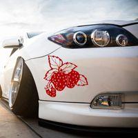 lastwagen heckscheibenabziehbilder großhandel-Strawberries Food Erdbeerfrucht Auto LKW Fenster Laptop Vinyl Aufkleber Aufkleber Heckscheibe Auto Aufkleber