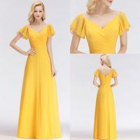sarı elbiseler pilili toptan satış-2018 Sarı Şifon Nedime Elbiseleri Ülke Düğün Için Bir Çizgi V Boyun Pleats Uzun Düğün Konuk Elbise Akşam Balo Giymek BM0037