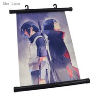 Wholesale Japanese Painting Canvas - Wholesale-She Love Pop Japanese Anime Naruto Itachi Uchiha Wall Scroll Painting Poster Decor Gift