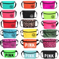 Wholesale Fashion Waist Packs - Pink Fanny Pack Pink Letter Waist Belt Bag Fashion Beach Travel Bags Waterproof Handbags Purses Outdoor Cosmetic Bag 26 colors